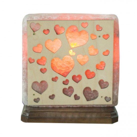"""Соляная лампа """"Сердца в квадрате"""" 4  кг"""