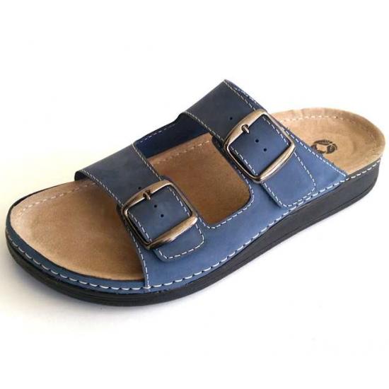 Мужские кожаные шлепанцы ORLANDO BLUE 3401